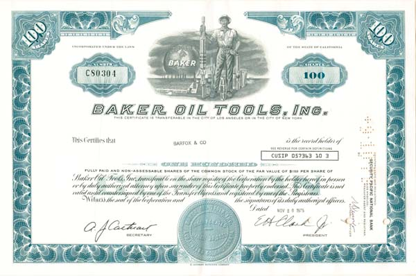 Baker Oil Tools, Inc - SOLD