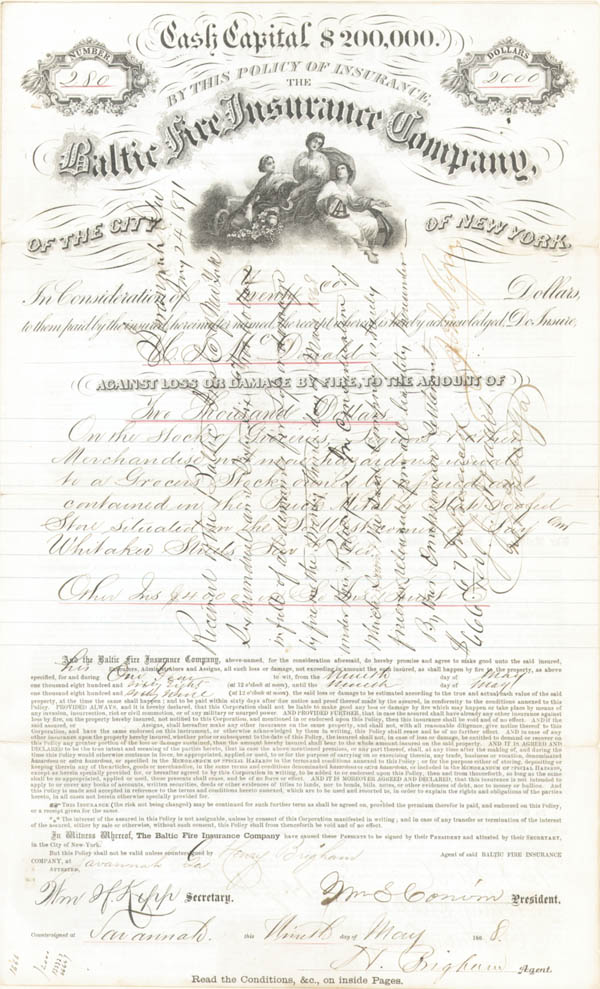 Baltic Fire Insurance Company of the City of New York - SOLD