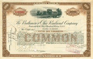 B & O Railroad Stock issued to and signed by Pierre S. Du Pont