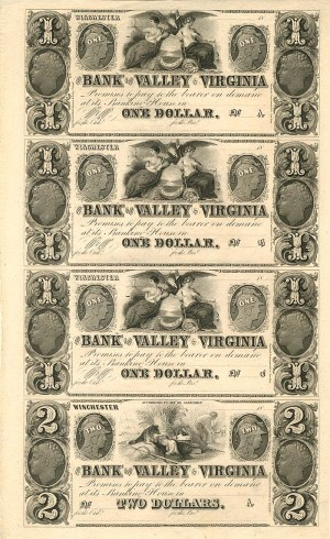 Bank of the Valley in Virginia - Uncut Obsolete Sheet - Broken Bank Notes