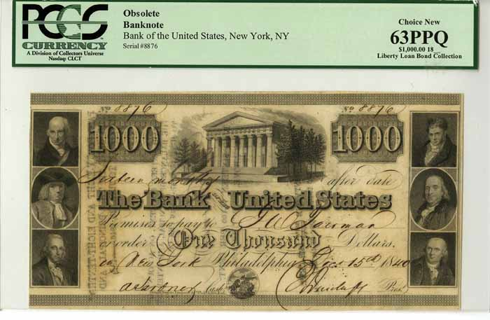 Bank of United States - $1000 Bank Note - SOLD