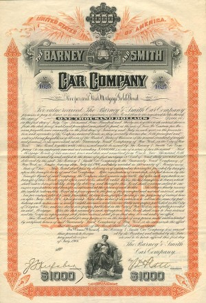 Barney and Smith Car Company - $1000 Bond - SOLD