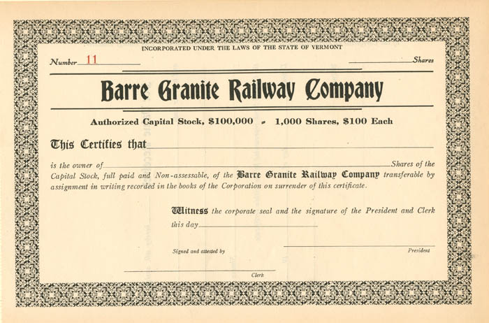 Barre Granite Railway Company - SOLD