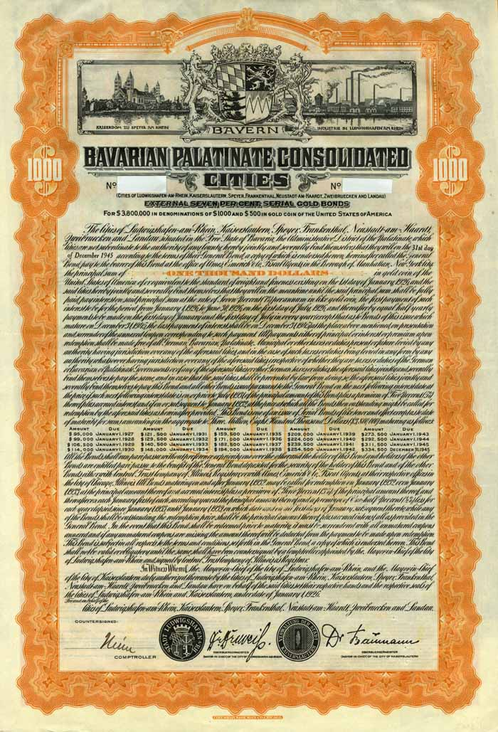 Bavarian Palatinate Consolidated Cites 7% Uncancelled Bond of 1926