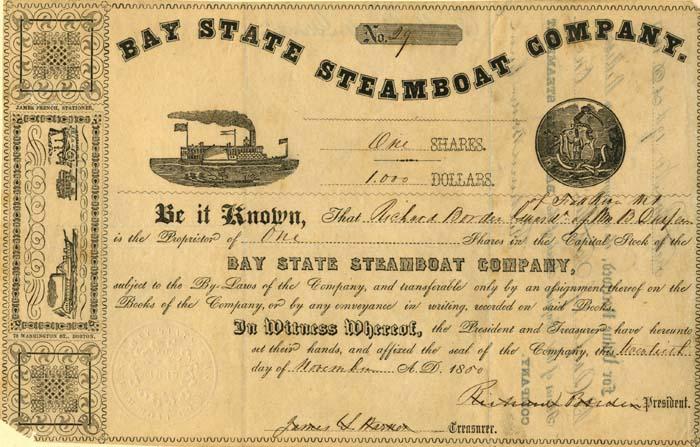 Richard Borden - Bay State Steamboat Co - Stock Certificate