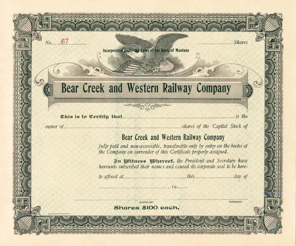 Bear Creek & Western Railway - Stock Certificate
