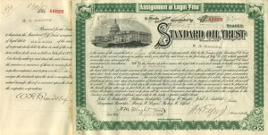 Standard Oil Trust signed by H.M. Flagler and W.H. Beardsley