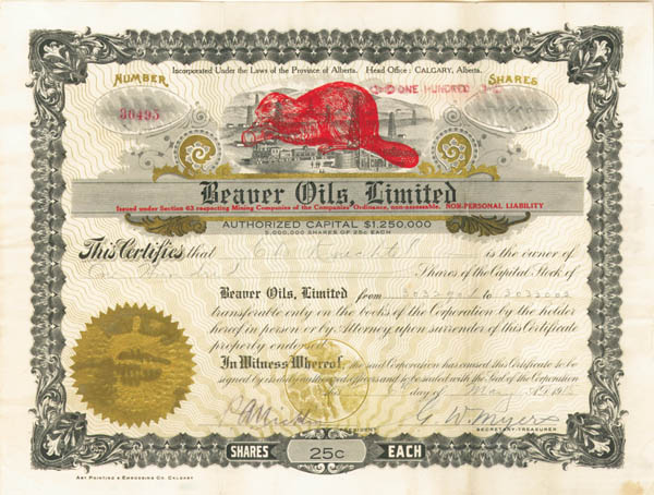 Beaver Oils, Ltd - Stock Certificate