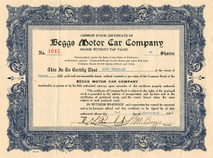 Beggs Motor Car Company - SOLD