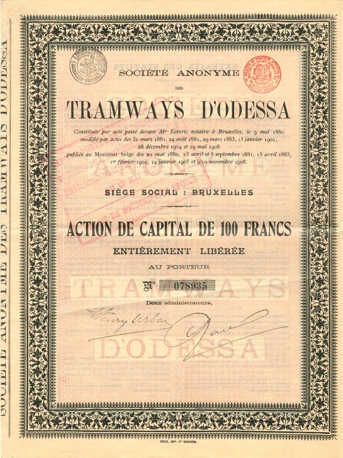 Societe Anonyme des Tramways D'Odessa