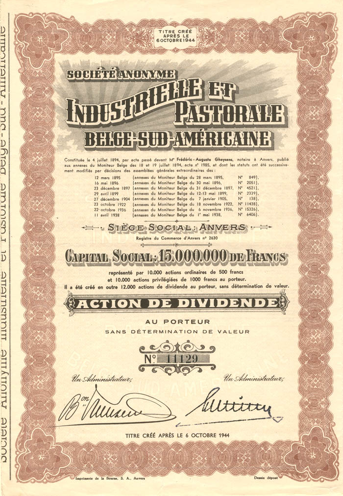 Societe Anonyme Industrielle et Pastorale Belge-Sud-Americaine