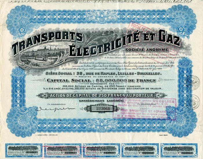 Transports Electricite et Gaz - Stock Certificate