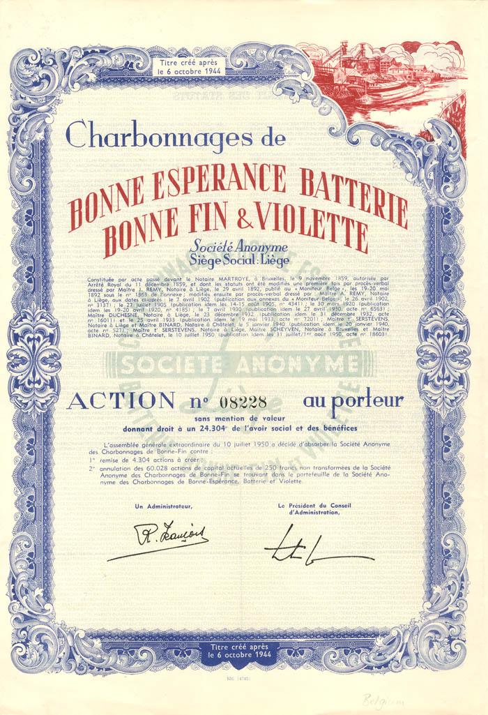 Charbonnages de Bonne Esperance Batterie Bonne Fin and Violette