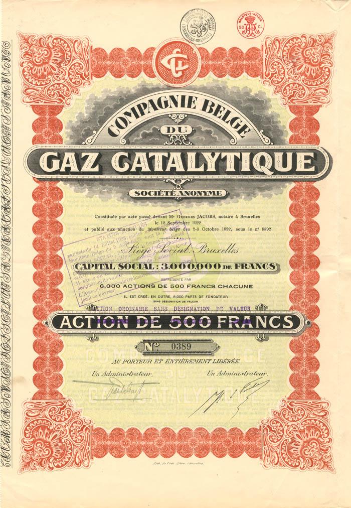 Compagnie Belge du Gaz Catalytique - Stock Certificate