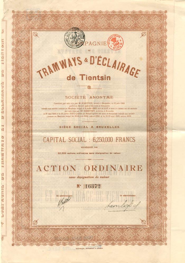 Compagnie De Tramways and D'Eclairage de Tientsin