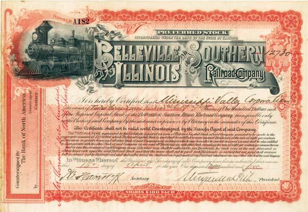 Stuyvesant Fish - Belleville and Southern Illinois Railroad - Stock Certificate