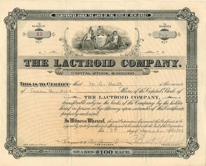 Lactroid Company signed by August Belmont, Jr.