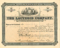 Lactroid Company signed by August Belmont, Jr. and Isaac L. Rice - Stock Certificate