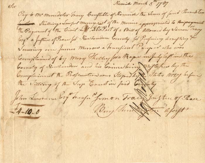 Pay Table Document Signed by Benjamin Huntington