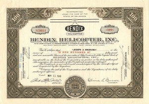 Bendix Helicopter, Inc. - Stock Certificate