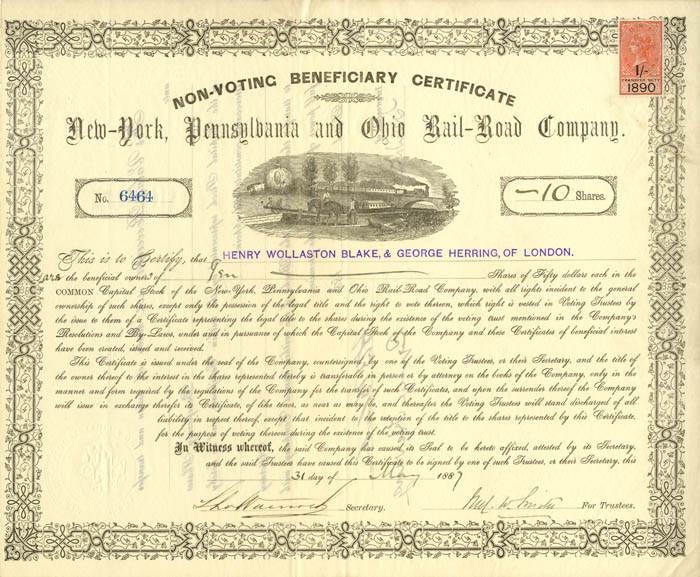 New York Pennsylvania and Ohio Railroad Company Non-Voting Beneficiary Certificate