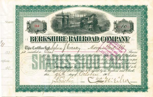 Charles Sanger Mellen - Berkshire Railroad Company - Stock Certificate