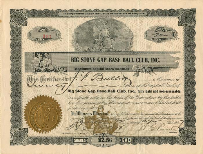 Big Stone Gap Base Ball Club, Inc. - SOLD