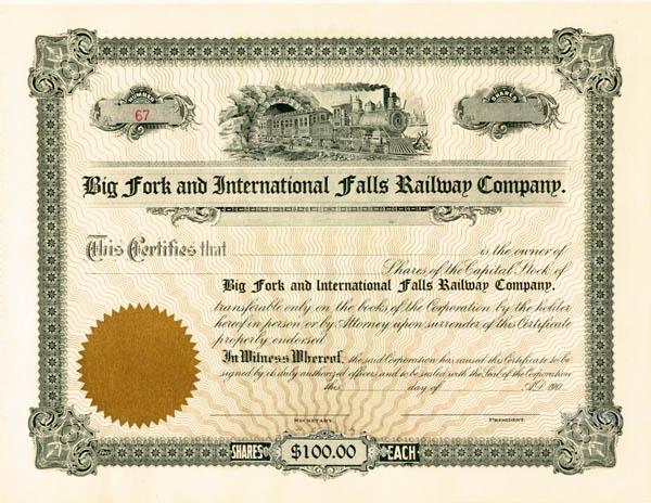 Big Fork & International Falls Railway - Stock Certificate