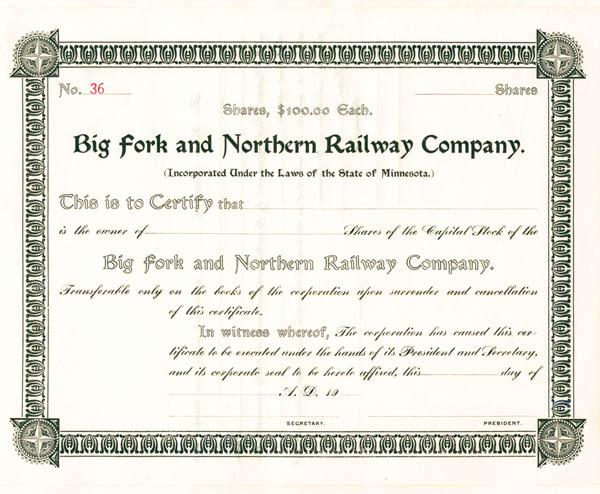 Big Fork & Northern Railway - Stock Certificate