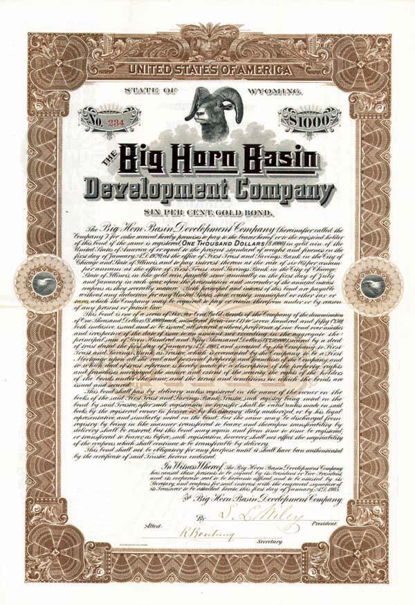 Big Horn Basin Development Co - Bond - SOLD