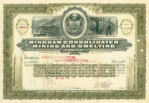 Bingham Consolidated Mining & Smelting Company - SOLD