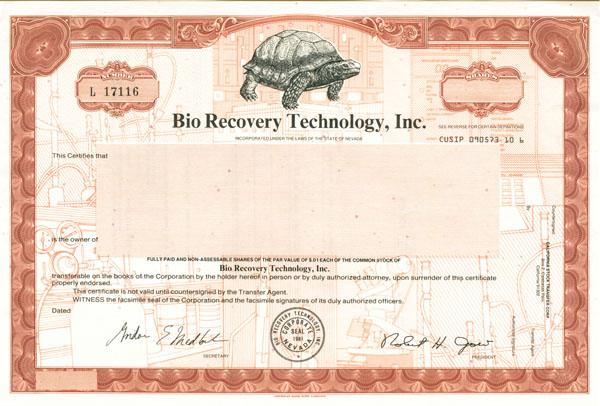 Bio Recovery Technology, Inc