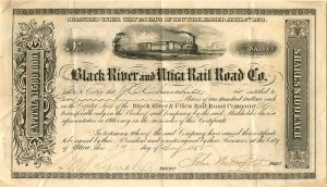 Black River and Utica Railroad Co. signed by John Butterfield
