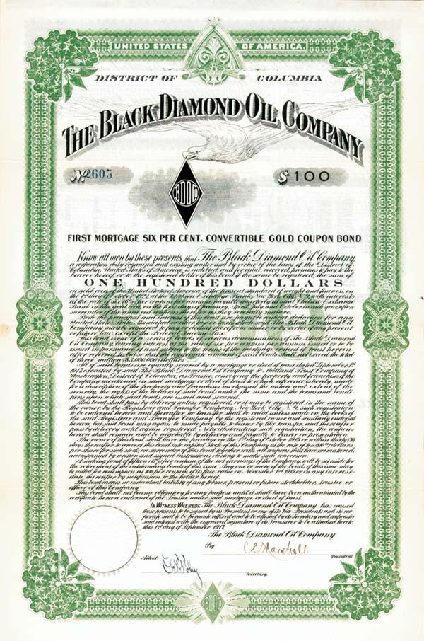 Black Diamond Oil Company - $100 or $1,000 - Bond