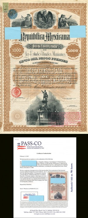 """Black Diamond"" or Christopher Columbus Republica Mexicana - £1,000/5,000 Pesos"
