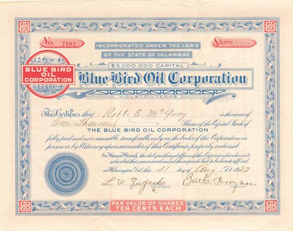 Blue Bird Oil Corp - Stock Certificate