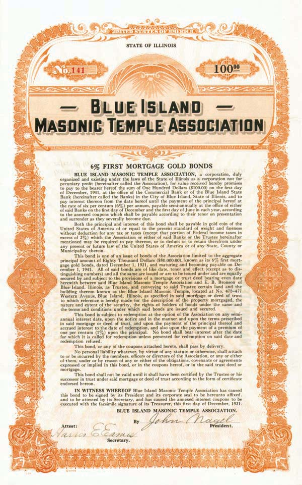 Blue Island Masonic Temple Association - Bond