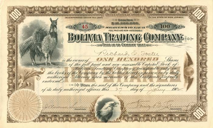 Bolivia Trading Company - Beautiful Vignette - Stock Certificate