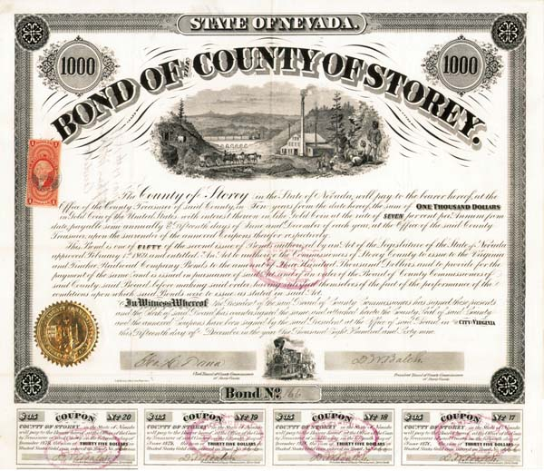 Bond of the County of Storey, Nevada