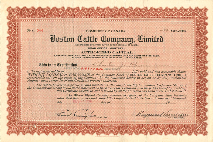 Boston Cattle Company, Limited