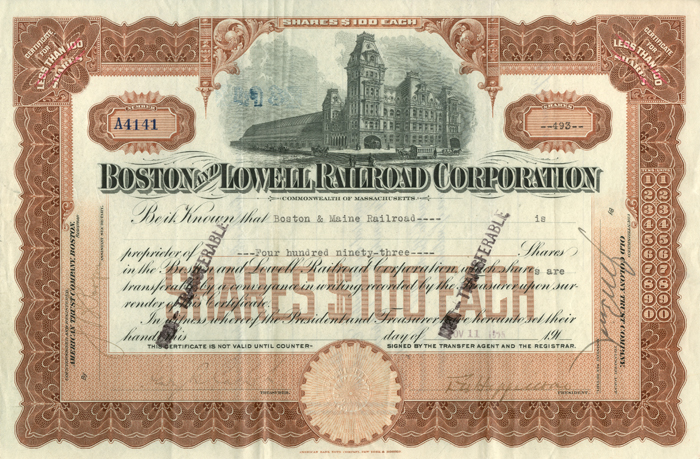 Boston and Lowell Railroad Corporation - SOLD