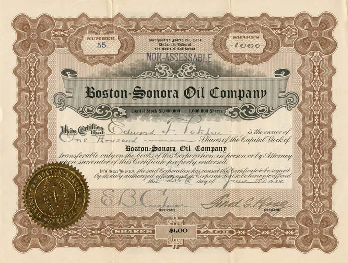 Boston=Sonora Oil Company
