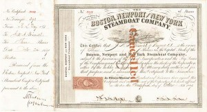 Oliver Ames - Boston, Newport and New York Steamboat Co. - Stock Certificate
