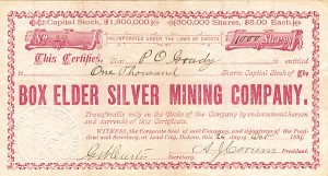 Box Elder Silver Mining Company - SOLD