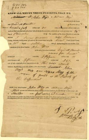 Purchase Document for a Negro Boy Named Quill - SOLD