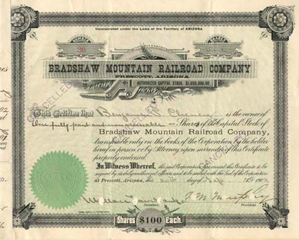 Bradshaw Moutain Railroad Company signed by B.P. Cheney