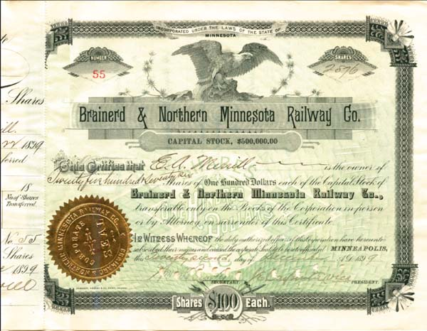 Brainerd & Northern Minnesota Railway Company - Stock Certificate