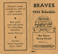 Braves 1934 Schedule - SOLD