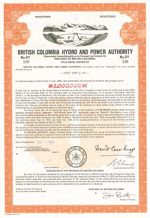 British Columbia Hydro & Power Authority - $1,000,000 Bond - SOLD