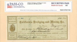 California Dredging and Mining Co. Stock with PASS-CO signed by C.E. Buckingham